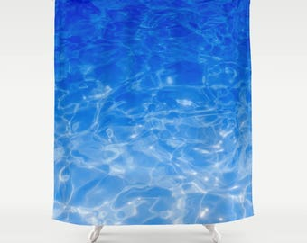 Blue sea Shower Curtain surf decor abstract deep ocean sea shower curtain coastal shower curtain bathroom blue white water 71x74 inch