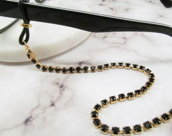 Black and gold Glasses Chain in Jet Black Swarovski Crystals; Eyeglass Chain; Chain for Readers; Glasses Necklace Holder; Glasses Leash Cord