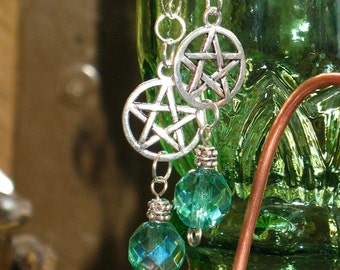 ON SALE!~Silver Pentacle and Green Crystal Gothic Earrings for Pierced Ears