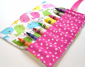 Crayon Roll - SPRING BIRDIES Crayon Roll Up - Stocking Stuffer - Kids