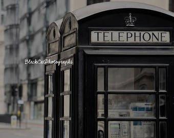 London Phone Booth England Telephone Photograph Urban Home Decor British Vintage Photo Print Black Grey London Style Travel Visit London