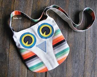 Girl's owl bag, kids summer bag, toddler fabric bag, children's cross body bag, 3 - 6 years girl owl shoulder bag, gift for girl, handmade