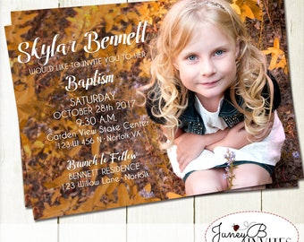 Girl Baptism Picture Invitation, Full Picture Invite, LDS Baptism Invitation, Printable Invitation