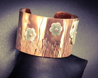 Flower Garden.  Fine silver on copper cuff