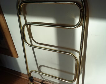 Vintage Towel Warmer Rack, Conair Brand Freestanding and collapsable electrical towel warmer rack in working condition with aged appearance