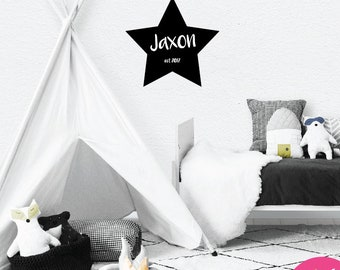 STAR Personalised Wall Sticker Decal: Baby Bedroom, Door plaque, child's name, Removable, boy girl gift, nursery art, present, newborn, mono