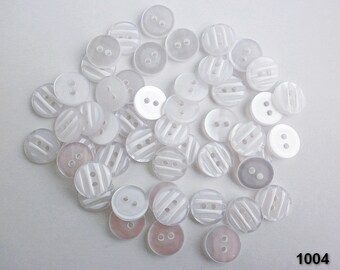 20 medium 2 hole  white buttons, White striped buttons, Perl buttons