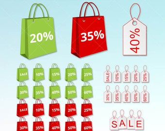 Red and Green Sales Bag Clipart.  Digital clip art graphics great for your Shop Sales announcement.  For personal or Commercial Use