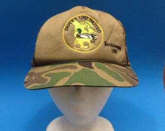 Vintage Ducks Unlimited Trucker SnapBack Hat Adjustable 1980s Camouflage 1987