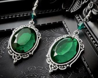 Emerald Jewel Morticia Gothic Earrings