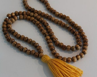 "Mustard Tassel Necklaces, Tassel Necklaces, Wood Beads, Rustic wood necklace.  33"" Loop"