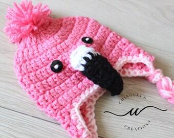 Baby Flamingo Crochet Hat Pink Flamingo Winter Hat
