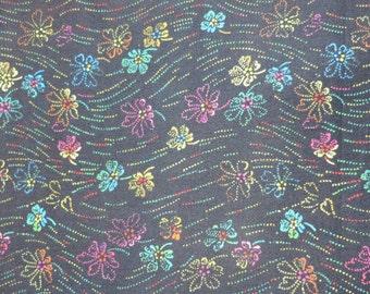 LIBERTY Of LONDON Tana Lawn Cotton Fabric  'Hilandmich' Black/Multi Floral Lg Fat Eighth 10 X 26 in