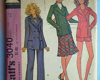 Vintage 70s Uncut Pattern Hot Pants Jacket Pants Skirt 36