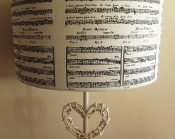 Vintage Music Script Lampshade black and white  shabby chic Christmas  Xmas FREE GIFT