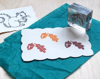 Autumn Acorn Rubber Stamp - Mounted Accent