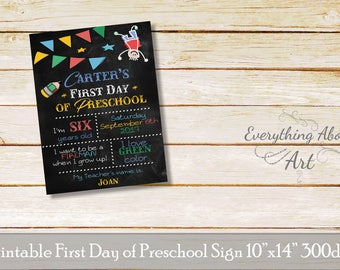 First day of Preschool sign, First day of school sign, Printable First of School Sign, Preschool Sign, Printable School Sign