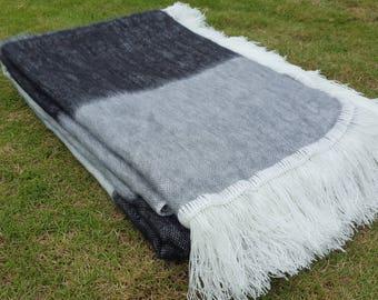 Alpaca Blanket Shutter Black Fringed Endings, Made in Ecuador