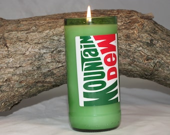 Upcycled Mt Dew Soda Bottle Candle, Mountain Dew Scent Candle, Recycled Mt Dew Bottle, Gift for Mt Dew Lover, Home Decor Candle