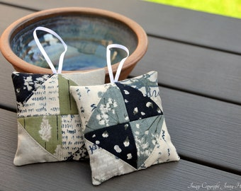 Lavender sachets with hanging loop, miniature patchwork. Microwavable hand warmer / laundry drawer bags. Worsdsmith by Janet Clare UK