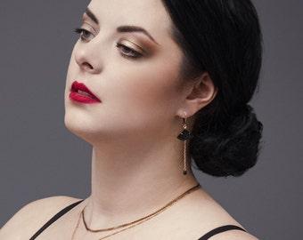 Vintage Black Fan Earrings - Onyx  - Art Deco Style Jewelry - Asian - Nao Earrings (SD0931)