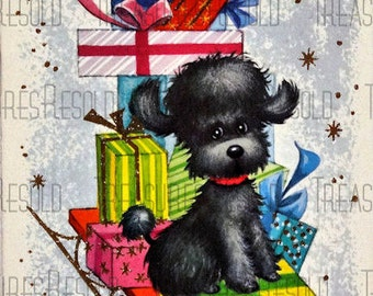 Retro Poodle On Present Filled Sled Christmas Card #60 Digital Download