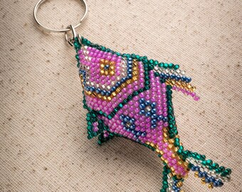 Fish Keychain, Multicolor Beaded