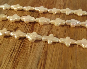 White Freshwater Pearl Crosses, 16 Inch Strand of Pearl Beads, 28 Beads, Drilled in Two Directions, 14mm x 9mm, Jewelry Supplies (P-C10)