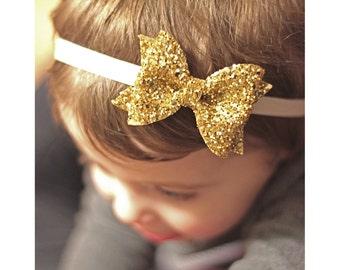 Gold glitter bow, gold headband, sparkle headband, glitter headband, glitter fabric bow, baby girl headband, glitter bow headband,