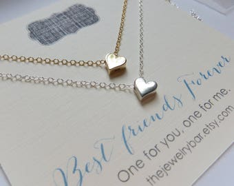best friend necklace for 2, sm heart necklace, bff gift, friends forever card, love, gold silver, best friends gifts