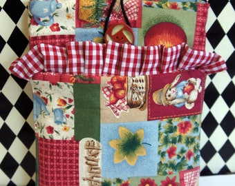 Kindle Cover Sleeve ~ Country Red Patchwork with Ruffled Pocket