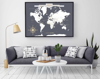 Push pin travel map etsy push pin travel map world travels map map art world map canvas travel map push pin map canvas or art print h i18 1ps aa4 06p gumiabroncs Images