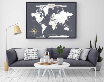 Push pin travel map etsy push pin travel map world travels map map art world map canvas travel map push pin map canvas or art print h i18 1ps aa4 06p gumiabroncs Gallery
