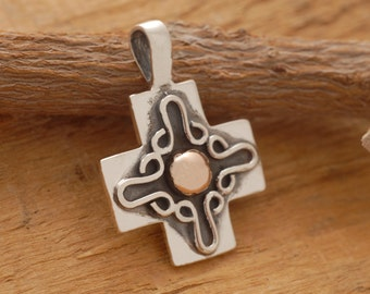 Silver and Gold Cross Necklace, Mens Sterling Silver Cross, Unique Religious Jewelry ST543