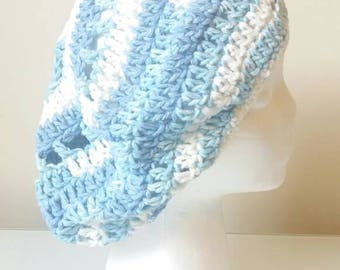 Slouch Hat with bow - Crochet hat- Chambray Blue, light blue  and White - All cotton