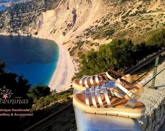 "15% Gold Stripe ""Artemis"" Sandals /High Quality Leather/Gold Color Leather/Gladiator Strap Sandals"