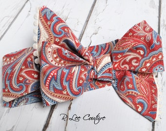 Paisley Gypsy Headwrap - Bow Headwrap - Head Wrap - Baby Headwrap - Hair Bow