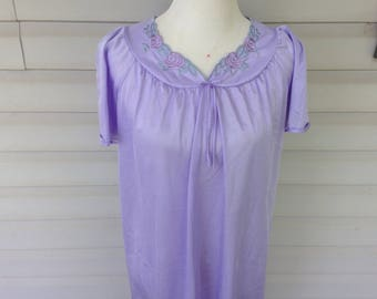 Lavender Embroidered Satin Nightgown