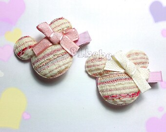 Baby Girl Tweed Pink Mickey Mouse Hair Clip,Headband