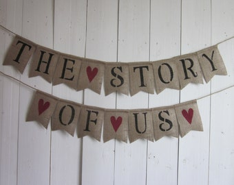 Engagement Pictures Banner - The Story Of Us Garland - Wedding Decor - Rustic Wedding Photo Prop - Barn Wedding Picture Display Sign