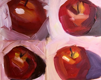 """APPLE STUDY, Carol Marine Workshop, 6"""" x 6"""", FRAMED Small Original Oil Painting by Merrill Weber, Red Apples Food Kitchen Painting"""