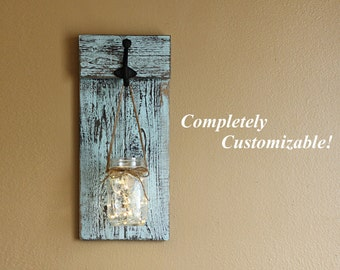 Distressed Wooden Sconce, Lighted Wall Sconce, Mason Jar Sconce, Rustic Wall Decor, Rustic Wall Sconce, Candle Holder, Farmhouse Decor