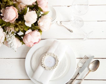 White Hemstitched napkins set of 12 made of natural linen perfect for wedding table