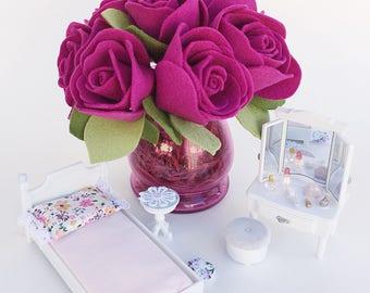 Pink Felt Roses . Felt Flowers . Pink Floral Arrangement . Valentines Gift . Gift for Her