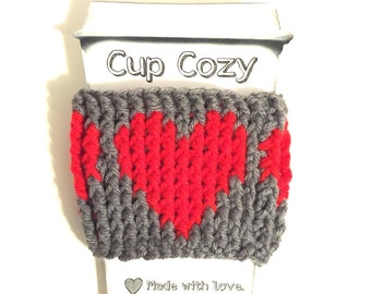 Gray coffee cozy, gray travel cup cozy, coffee cup sleeve, red heart cup cozy, grey java cozy, cup insulator, crochet cup cozy, drink holder