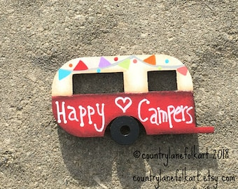 camper magnet, vintage camper, happy campers, refrigerator magnets, camper, camper decor, kitchen magnets, mother gift from daughter