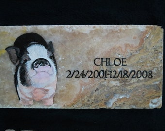 Pet Original Hand Painted Head Stone or Memorial Stone 12 x 6 inches PotBellied Pig Made to Order by Shannon Ivins