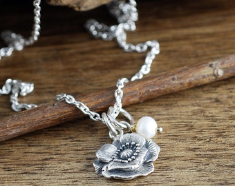 Sterling Silver Vintage Flower Necklace, Poppy Flower Necklace, Silver Flower Necklace, Necklace for Mom, Wedding Jewelry, Bridesmaid Gift
