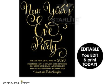 New Year's Eve Party Invitation, New Year Party Invitation Printable, New Years Eve Party Invite EDITABLE INSTANT DOWNLOAD, Template
