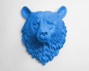 The Raleigh in Cobalt Blue - Cobalt Resin Bear Head- Resin Blue Faux Taxidermy- Chic & Trendy